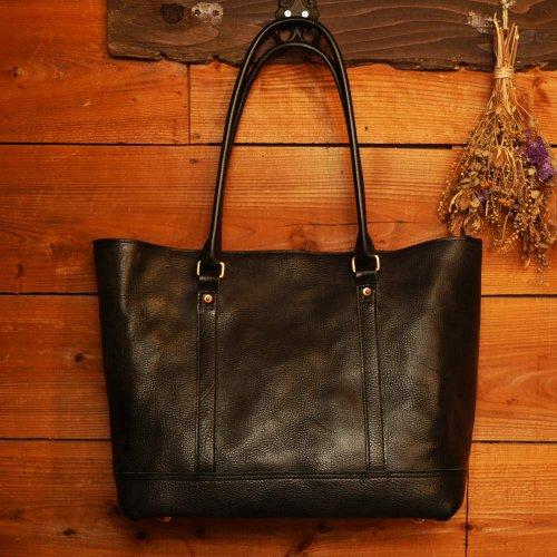 ロロマレザー素材 トートバッグ ブラック / ROROMA tote bag