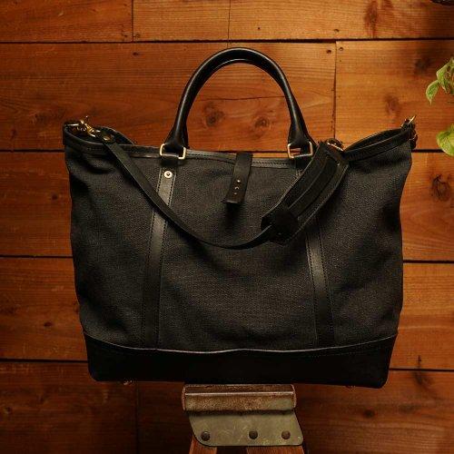 ビンテージ加工帆布 2way ショルダートート ブラック / bio wash canvas 2way shoulder tote bag