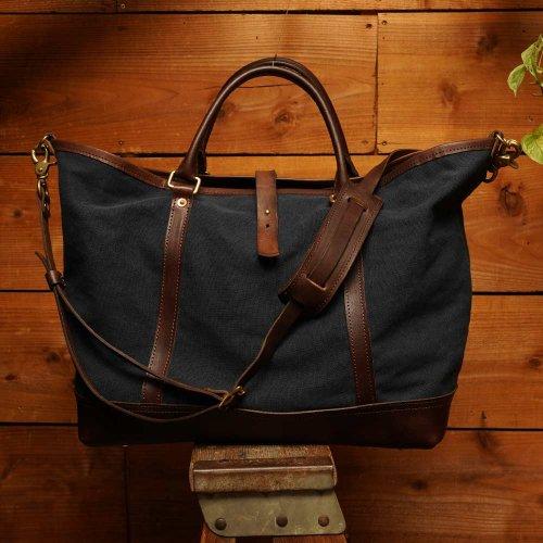 ビンテージ加工帆布 2way ショルダートート ネイビー / bio wash canvas 2way shoulder tote bag