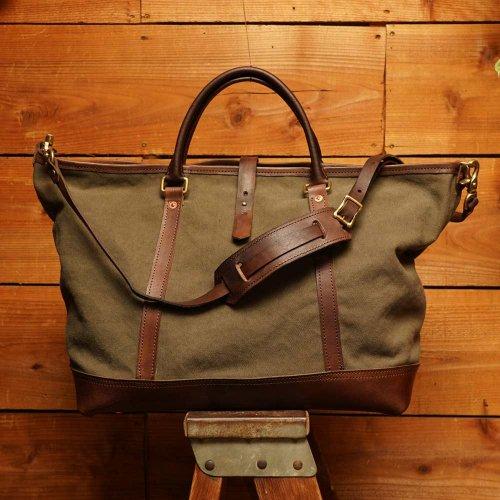ビンテージ加工帆布 2way ショルダートート オリーブ / bio wash canvas 2way shoulder tote bag