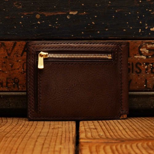 ロロマレザー カード マネークルップ 財布 チョコ/ roroma leather card money clip Wallet