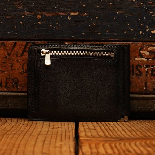 ロロマレザー カード マネークルップ 財布 black/ roroma leather card money clip Wallet