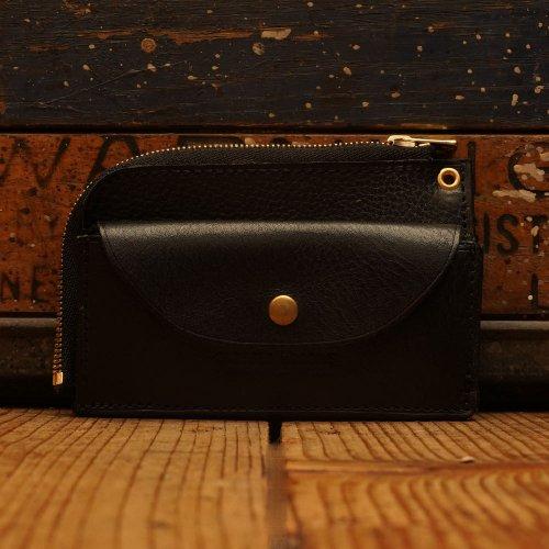 ロロマレザー素材 L字ファスナー カードホルダー ウォレット ブラック / Roroma Shrink Sibo leather L-Wallet w/card holder  BLACK