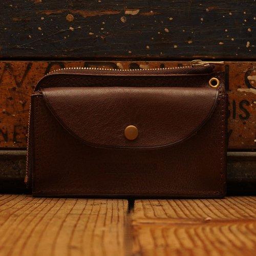 ロロマレザー素材 L字ファスナー カードホルダー ウォレット ブラウン / Roroma Shrink Sibo leather L-Wallet w/card holder  BROWN