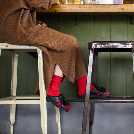 """足にやさしい靴下""""さあ旅に出よう"""":TRIP SCOTT TYPE.S-01/RED"""