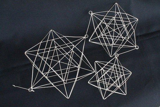 六芒星 3連ワイヤーオーナメント-銀