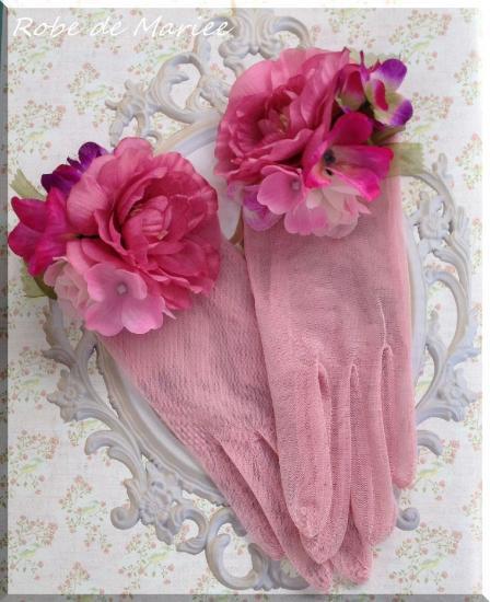 【送料無料】シンプルチュール♪大人ピンクのショートグローブ 《Bouquet》