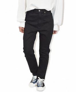 【QUINOA】Ribon Strech Tapered Black Pants