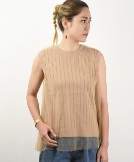 【QUINOA】Tulle Layered Knit Tops (2Color)