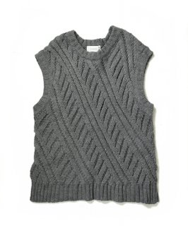 【ChignonStar】Low Gauge Knit Gilet (Gray)
