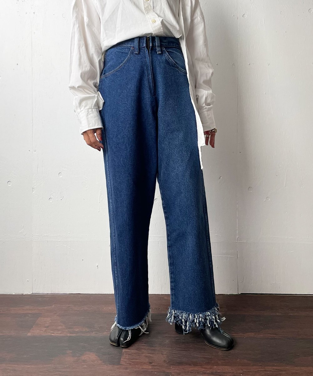 【77circa】Circa Make Fringe Denim Pants (Blue)