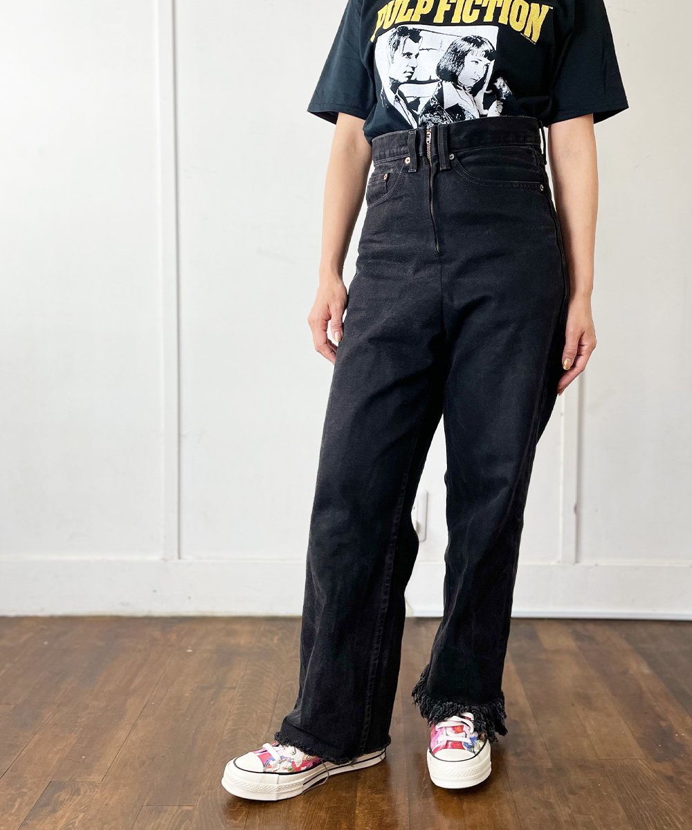 【77circa】Circa Make Fringe Denim Pants (Black)<img class='new_mark_img2' src='https://img.shop-pro.jp/img/new/icons14.gif' style='border:none;display:inline;margin:0px;padding:0px;width:auto;' />