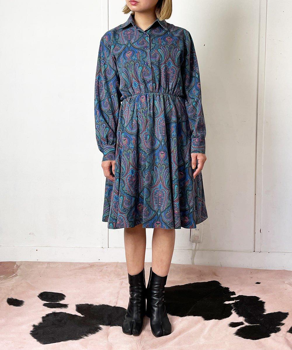 【P-11】Paisley midi Vintage dress