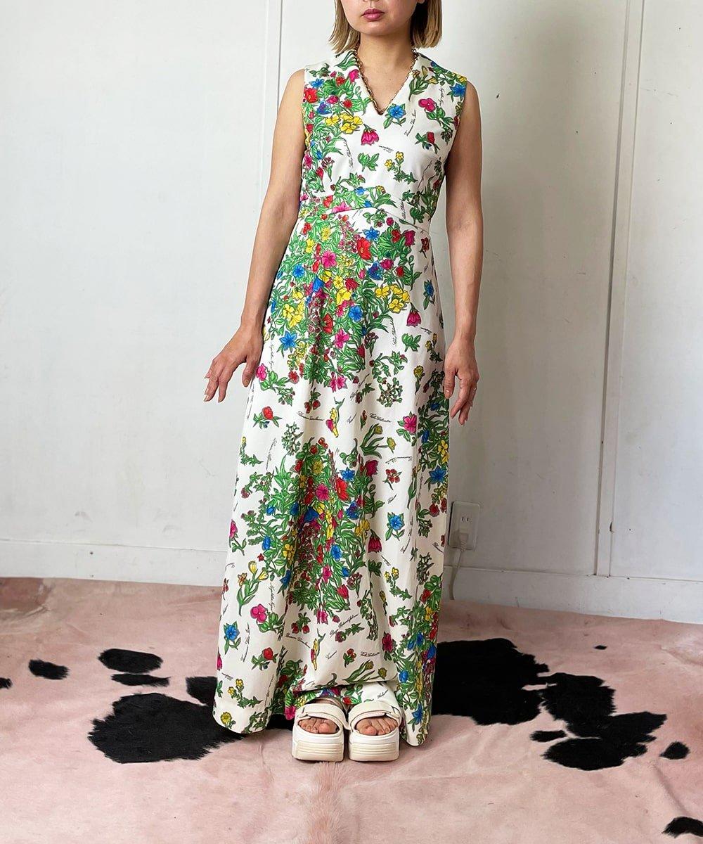 【P-11】Flowery long Vintage dress