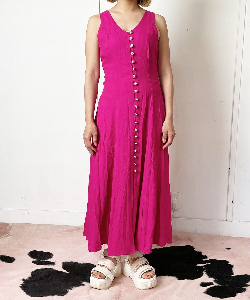 【P-11】Shocking pink Vintage dress