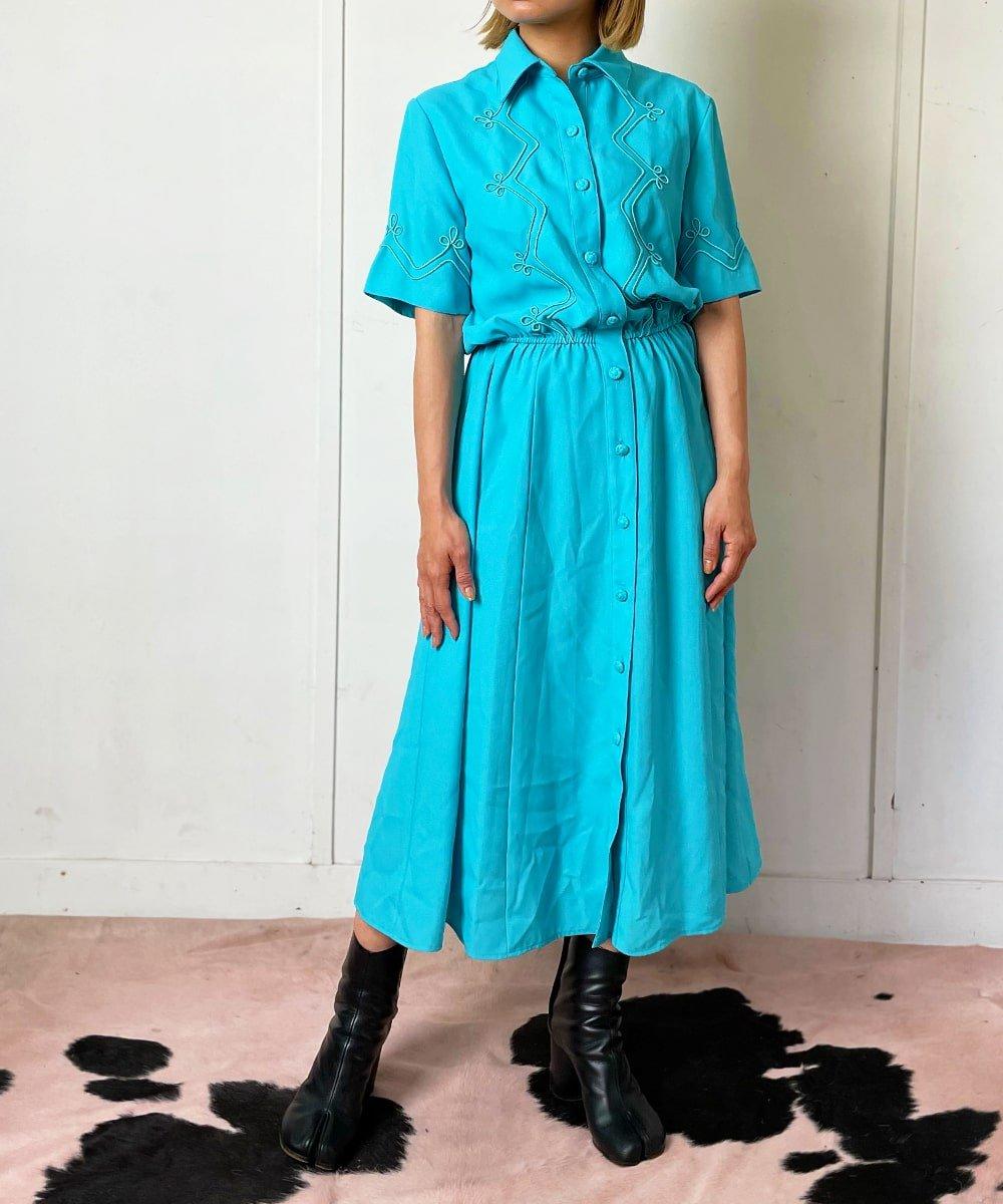 【P-11】Turquoise blue Vintage dress
