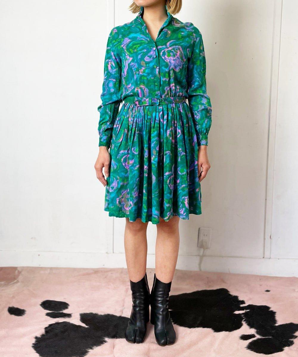 【P-11】Impressionist mini Vintage dress