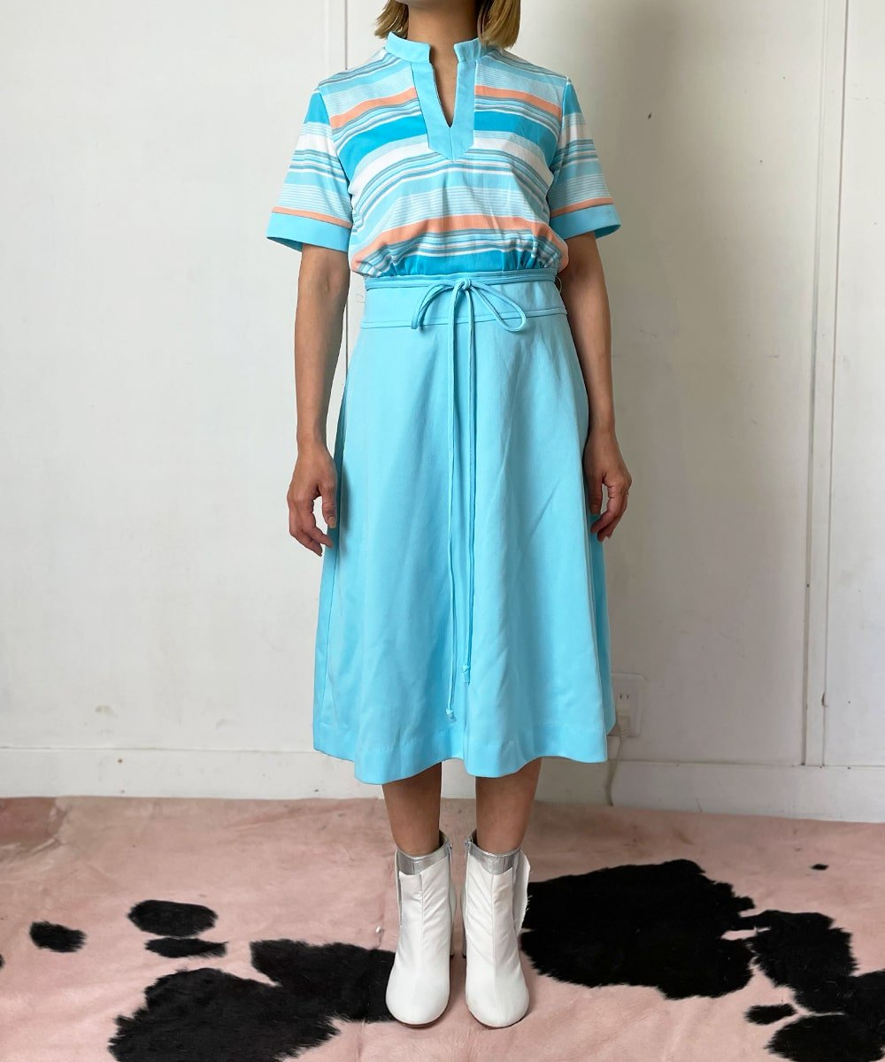 【P-11】Light blue retro Vintage dress