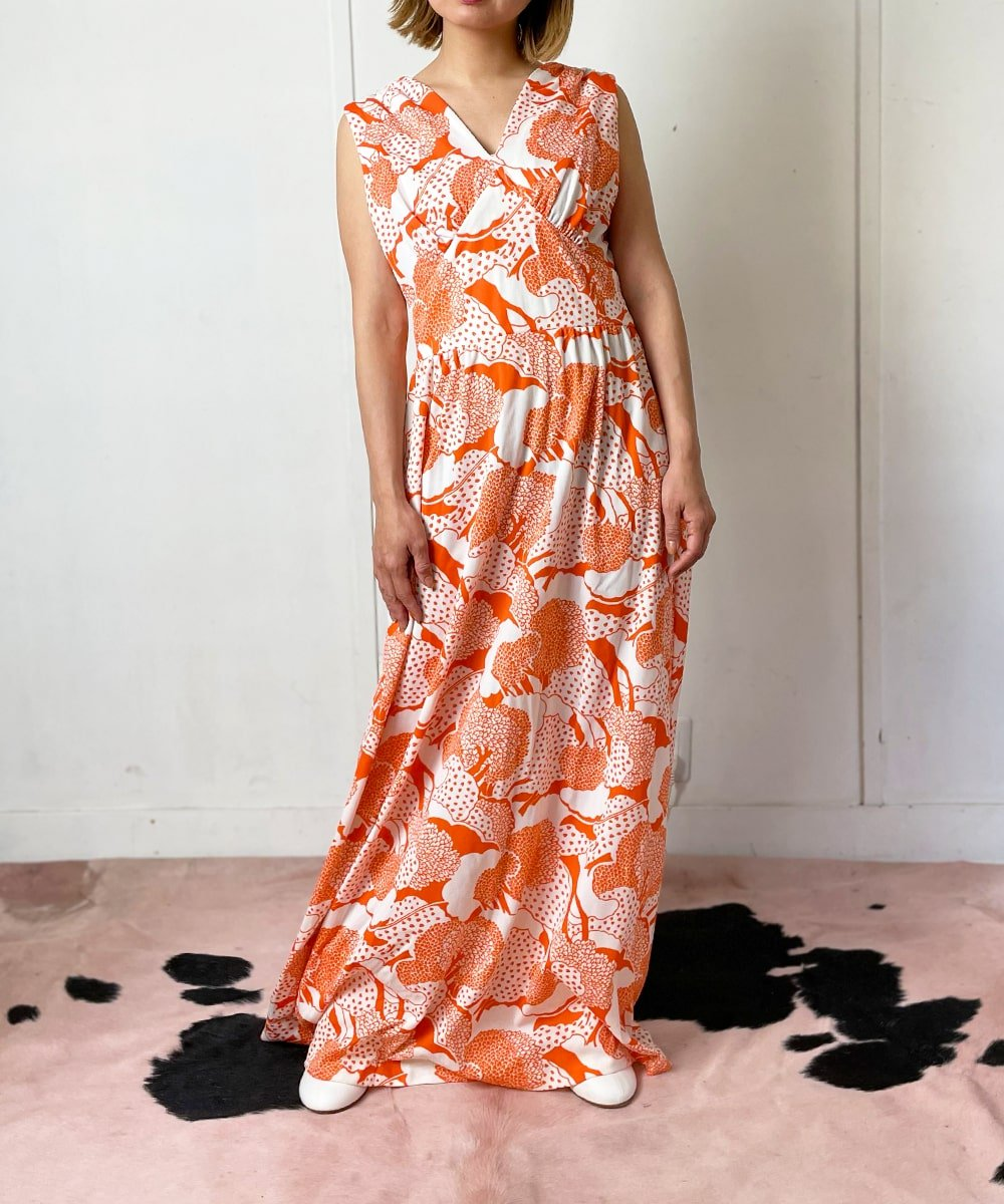 【P-11】ORANGE trees Vintage dress