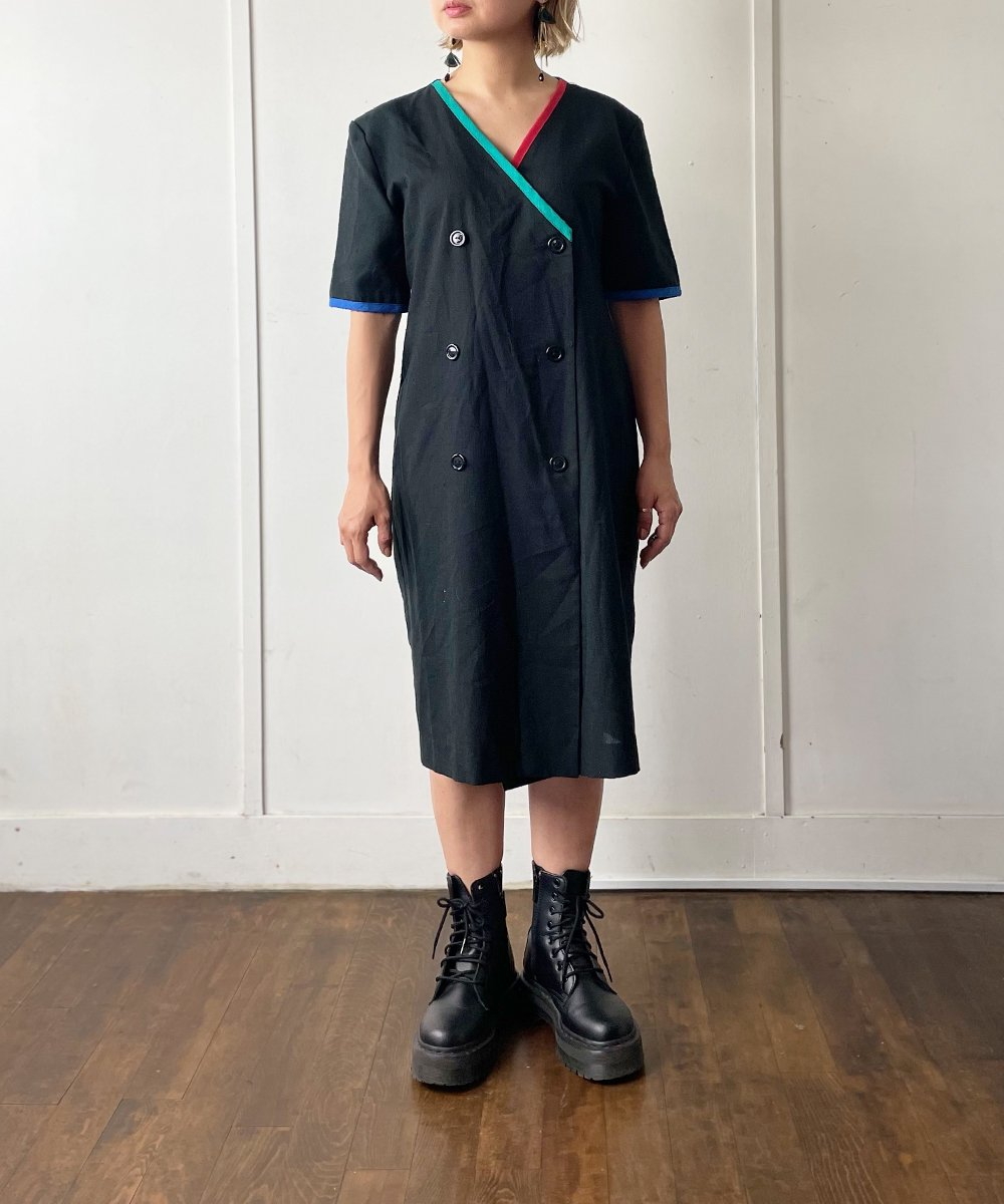 【P-11】Color piping W Vintage dress<img class='new_mark_img2' src='https://img.shop-pro.jp/img/new/icons14.gif' style='border:none;display:inline;margin:0px;padding:0px;width:auto;' />