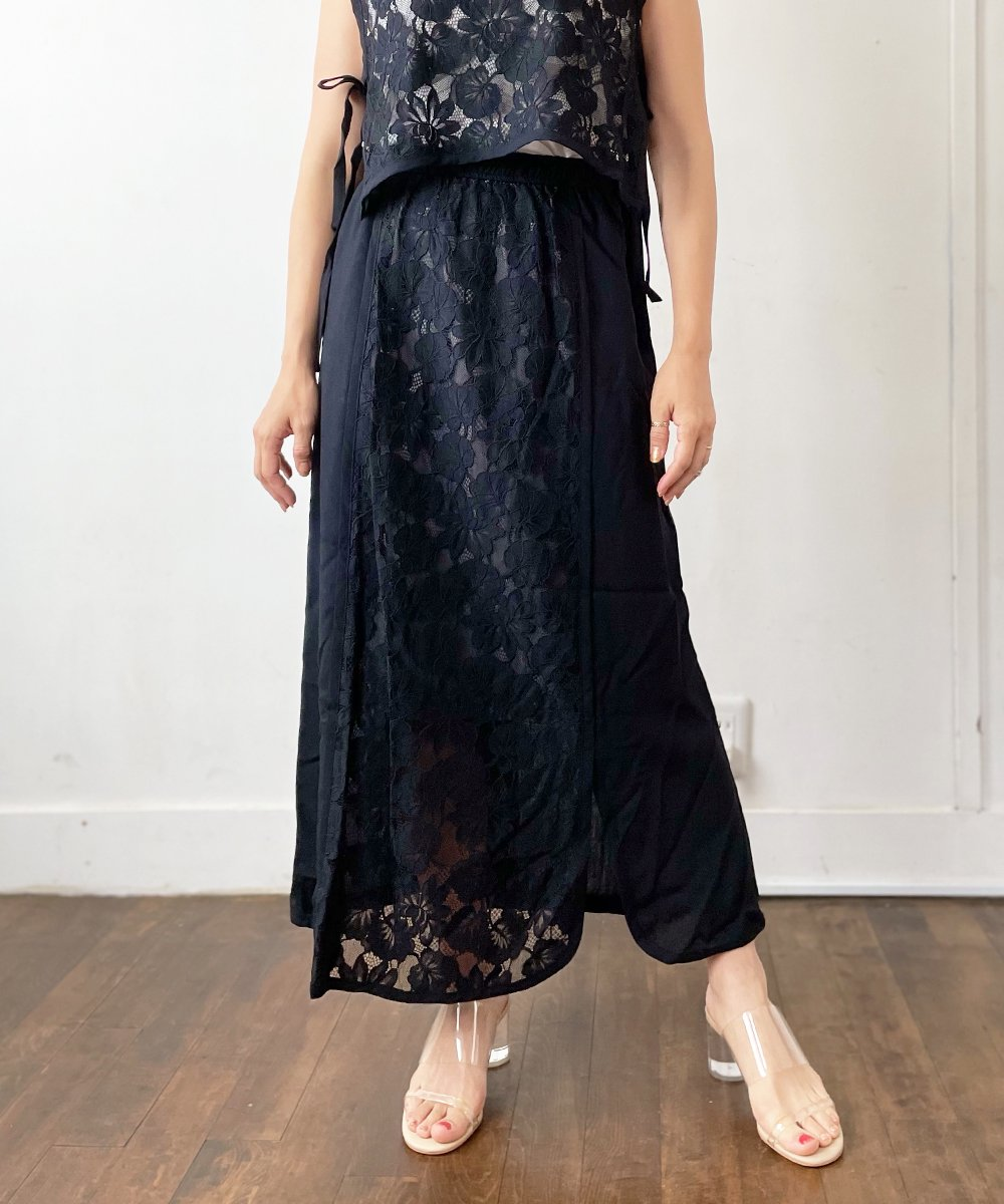 【CHIGNON】Lace Combination Skart (Black)<img class='new_mark_img2' src='https://img.shop-pro.jp/img/new/icons23.gif' style='border:none;display:inline;margin:0px;padding:0px;width:auto;' />