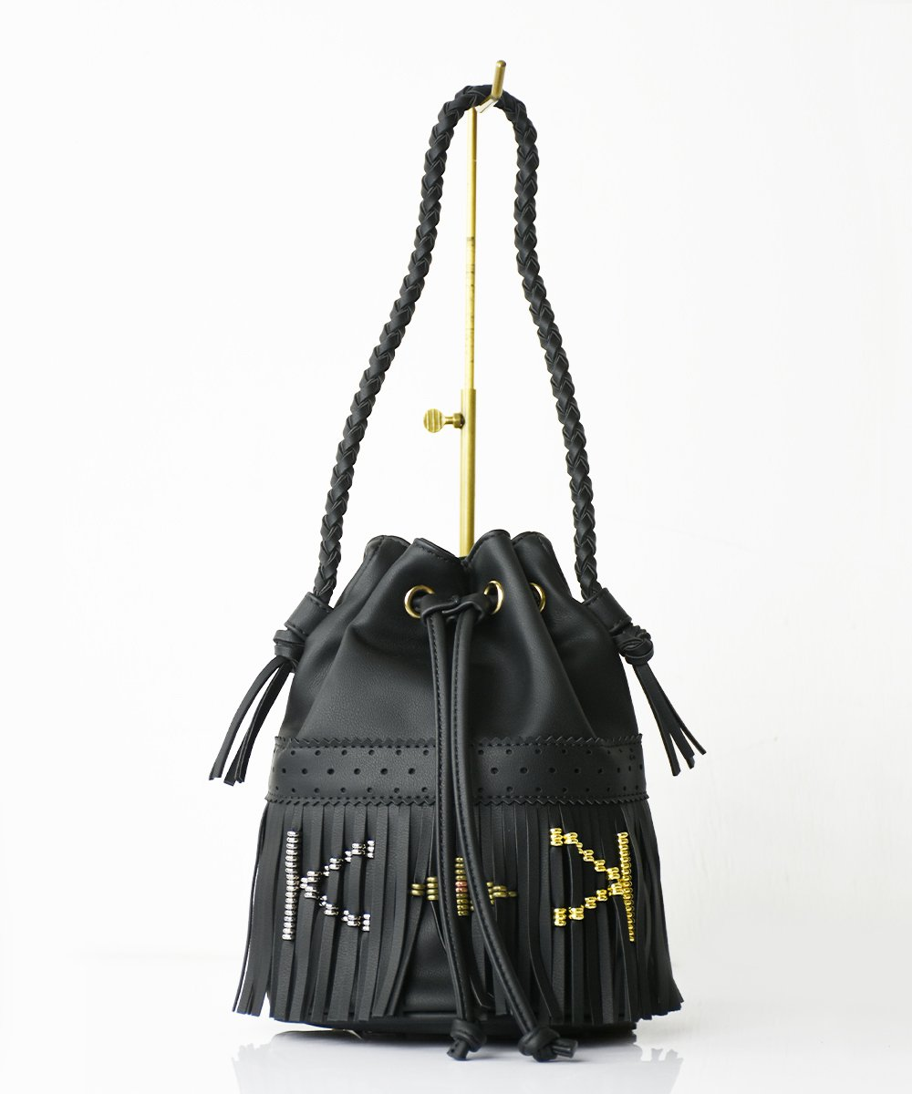 【RAYDY】Initial Fringe Mini Bag (#K)<img class='new_mark_img2' src='https://img.shop-pro.jp/img/new/icons23.gif' style='border:none;display:inline;margin:0px;padding:0px;width:auto;' />