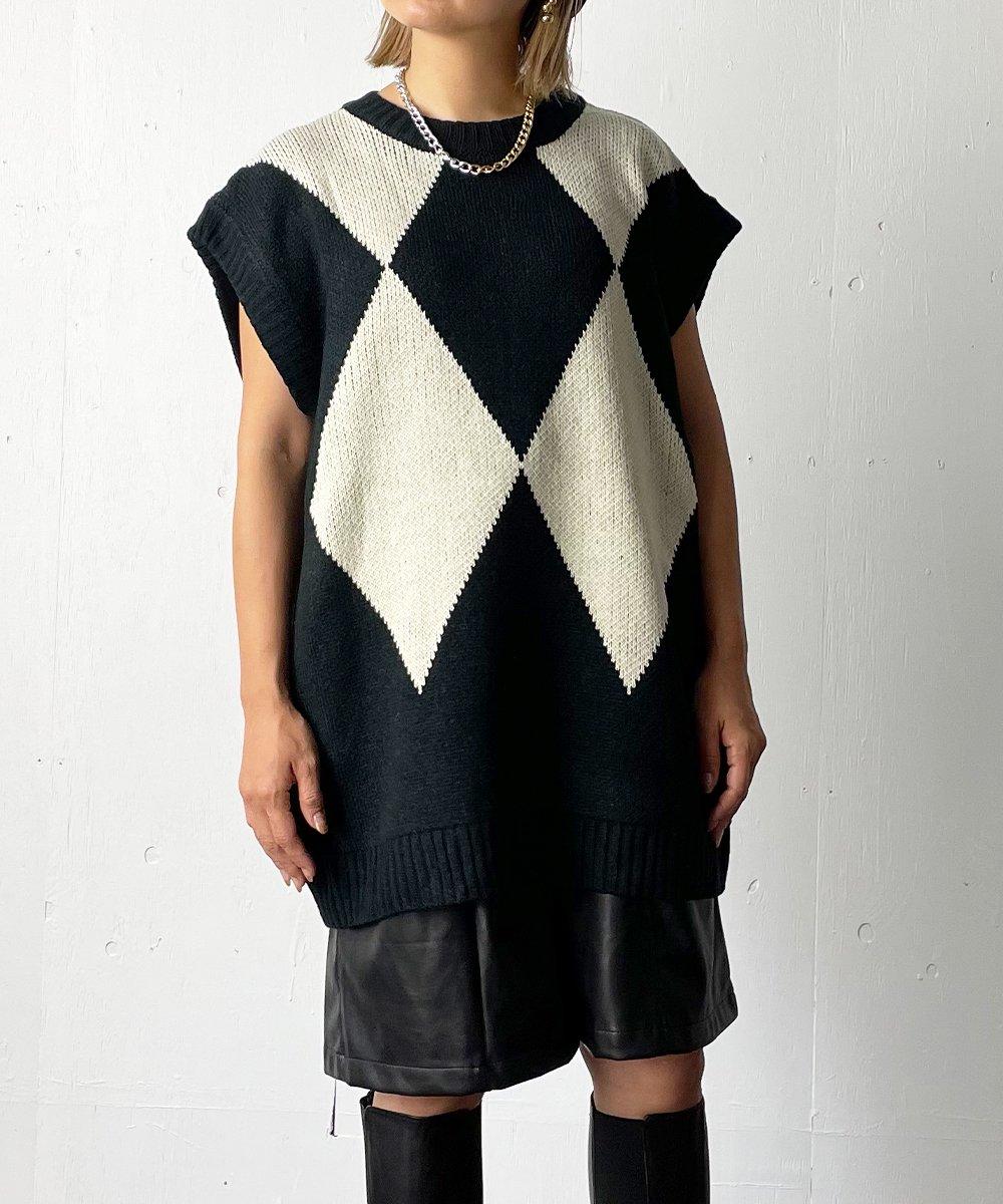 【CHIGNON】Double JQ knit vest (Black)