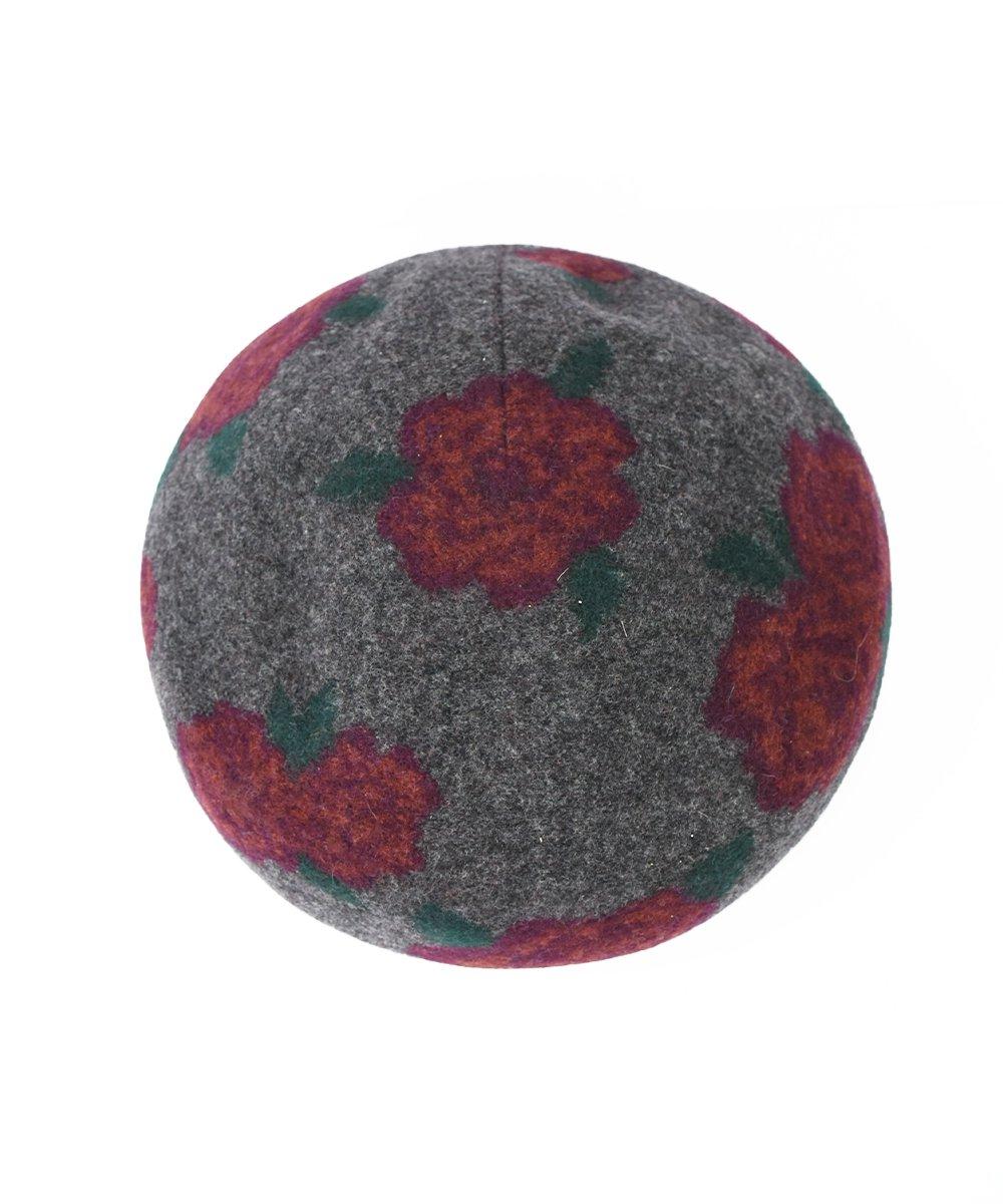 【INFIELDER DESIGN】 Wool Flower Beret (Grey)