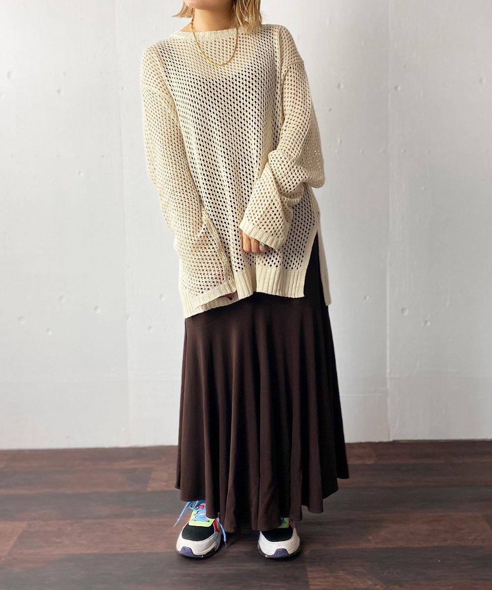 【RAYDY】Knit Mesh Tops (Beige)
