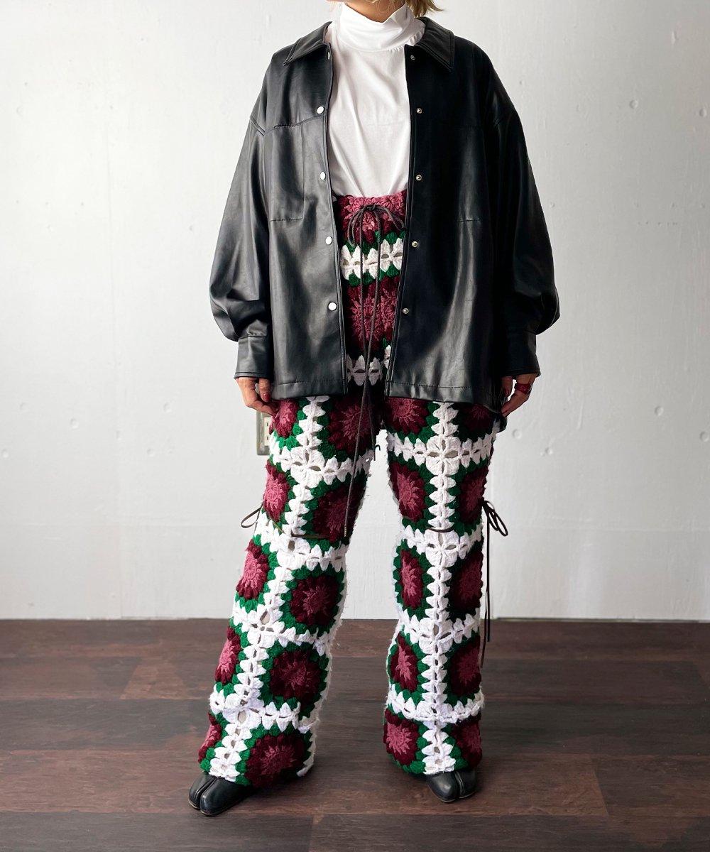 【77circa】circa make granny blanket pants (White/Burgundy)