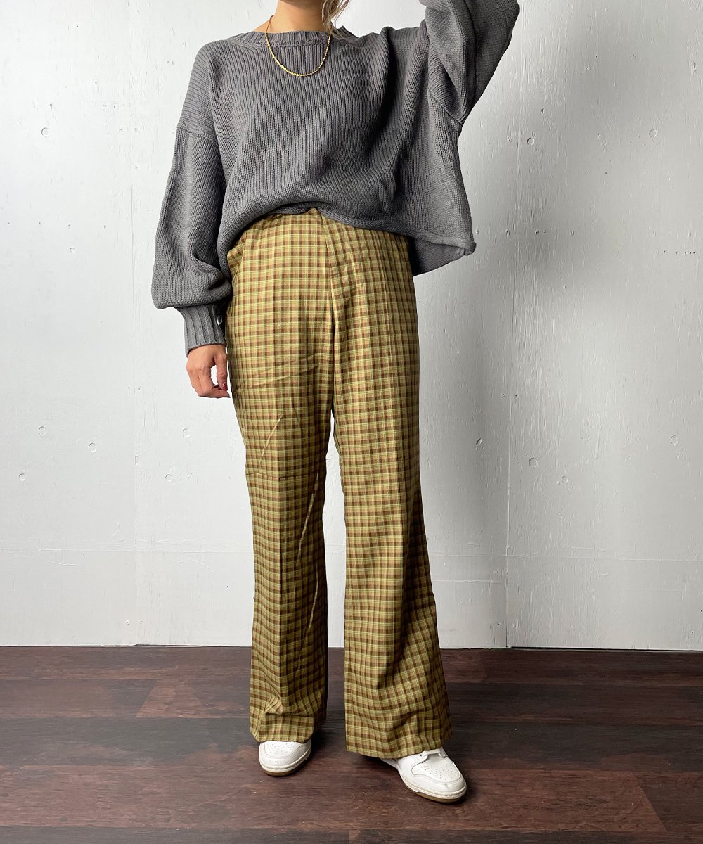【WoM】CLASSIC CHECK FLARE PANTS  (BROWN)<img class='new_mark_img2' src='https://img.shop-pro.jp/img/new/icons14.gif' style='border:none;display:inline;margin:0px;padding:0px;width:auto;' />