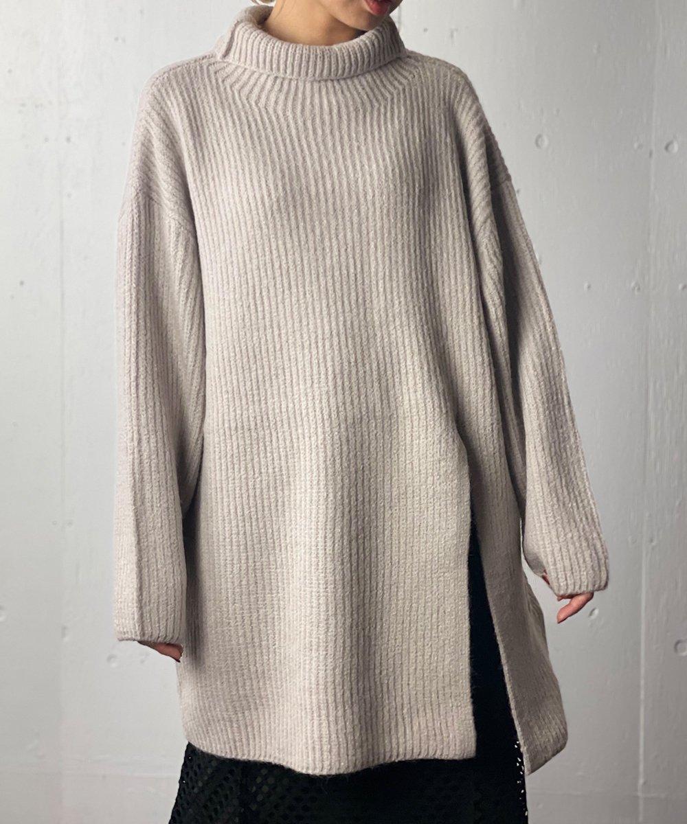 【CHIGNON】Turtle long knit (GrayBeige)