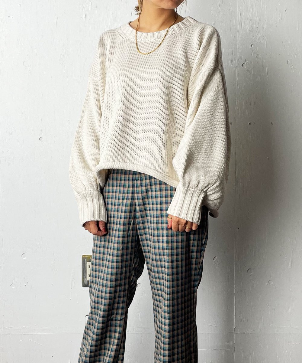 【RAYDY】Over Short knit tops(White)