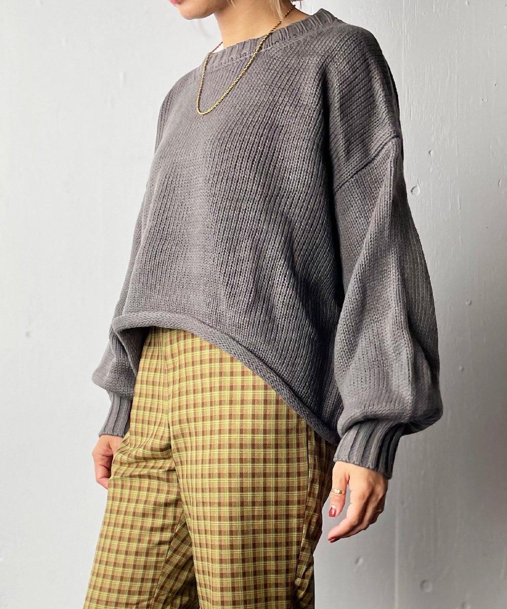 【RAYDY】Over Short knit tops(CharcoalGray)