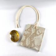 【送料無料】運気を変えるヘビの抜け殻のお守り&お守り袋セット(パールレザー)