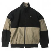 Stone wash 2 tone jacket / Black x Beige