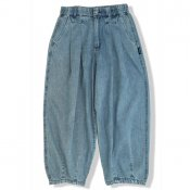 Loose Tapered Wash Denim Pants