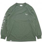 CURSIVE LOGO L/S T-SHIRTS / Army Green