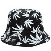CANNABIS REVERSIBLE BUCKET HAT / Black/White