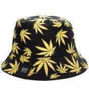 CANNABIS REVERSIBLE BUCKET HAT /  Black/Yellow