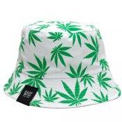 CANNABIS REVERSIBLE BUCKET HAT / White/Green