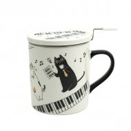 ミュージックキャット蓋付きマグカップ ピアノ
