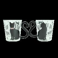 マグカップルガラス 黒猫ピアノ