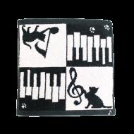 今治タオルハンカチ ネコ&ピアノ