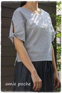 袖リボンシャツ M〜L