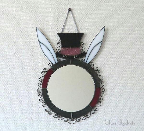 アリス 白ウサギ ステンドグラス ミラー 鏡 ギフト