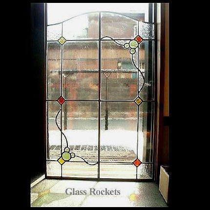 「アールヌーボー幾何学ank01」ステンドグラスパネル
