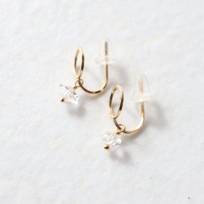 [minikin]14kgf/線のイヤリング×ハーキマーダイヤモンドのチャーム