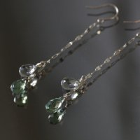 [VANLOON]K10/green×green ロングチェーンピアス
