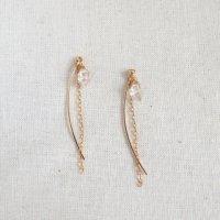 [minikin]14kgf/ハーキマーダイヤモンドのロングピアス(イヤリング)チャーム